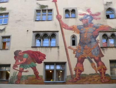 regensburg weltkulturerbe Malerei am Goliath Haus