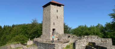 Verlassene Ruine der Burg Altnussberg Burgruine In Niederbayern Aussichtsturm