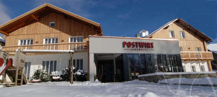 Winterurlaub Bayerischer Wald mit snowboarden und Langlaufen Hotelansicht