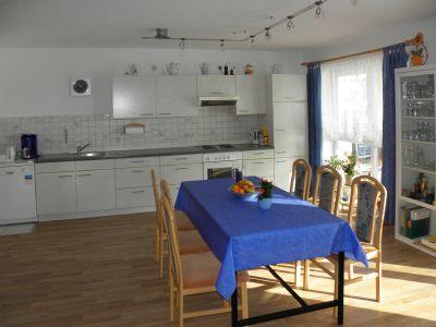 Essbereich und Küche der Urlaub mit Kindern im Bayerwald in Bayern in Deutschland