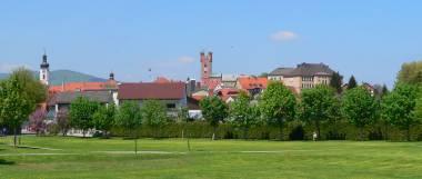 Ferienwohnungen in Ostbayern - Bild ID: furth-im-wald-bayerischer-wald-stadt-ansicht-kirche-stadtturm-panorama-380