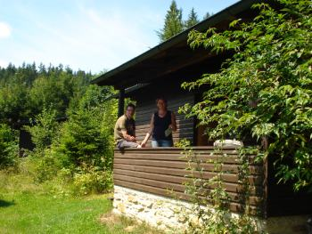 Waldhaus Urlaub in Deutschland Einfache Berghütte im Wald