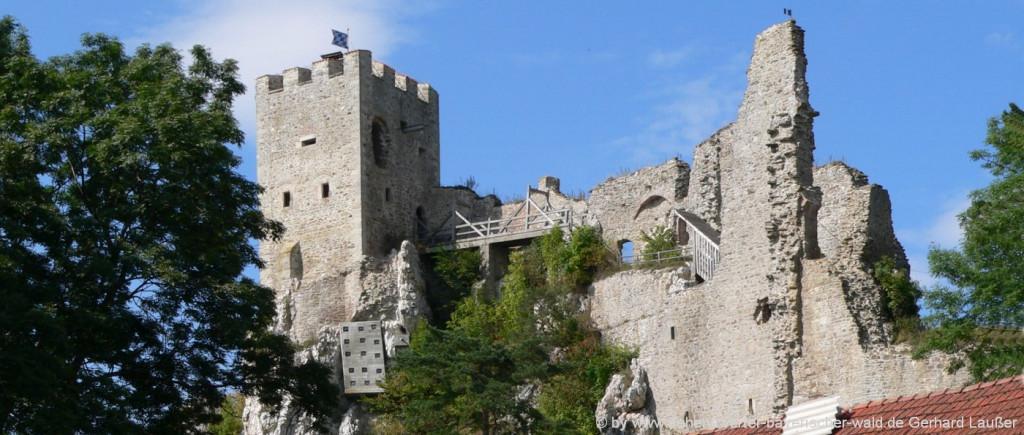 Bilder der Burgruine Weissenstein Regen Ruine der Burg in Bayern